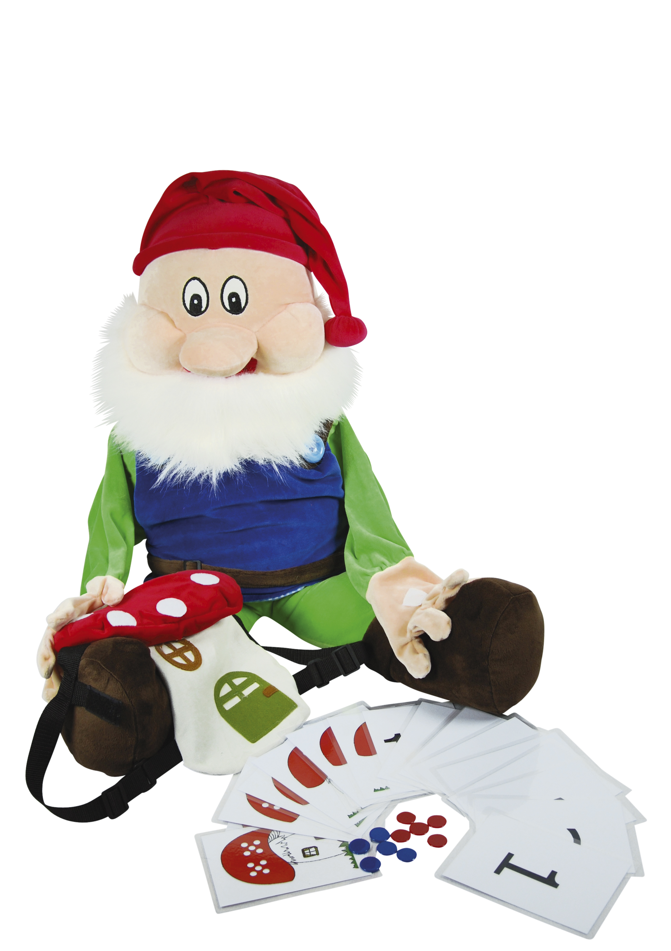 Handpuppet Gnome with Rucksack
